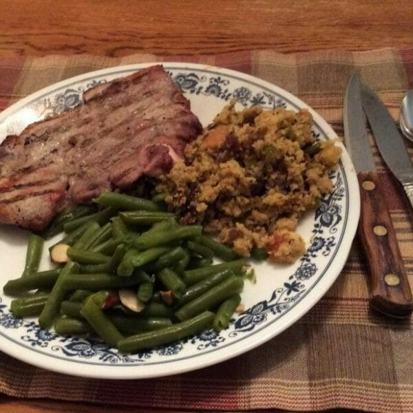 Cornbread dressing - perfect with prok chops and green beans almondine