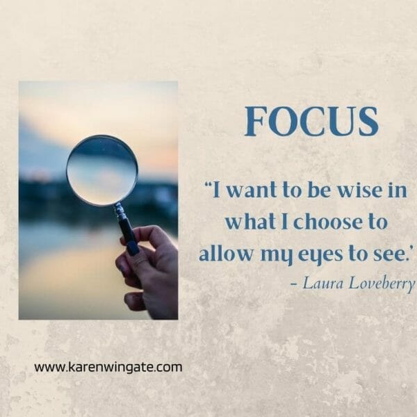 Focus: I want to be wise in what I choose to allow my eyes to see. - Laura Loveberry