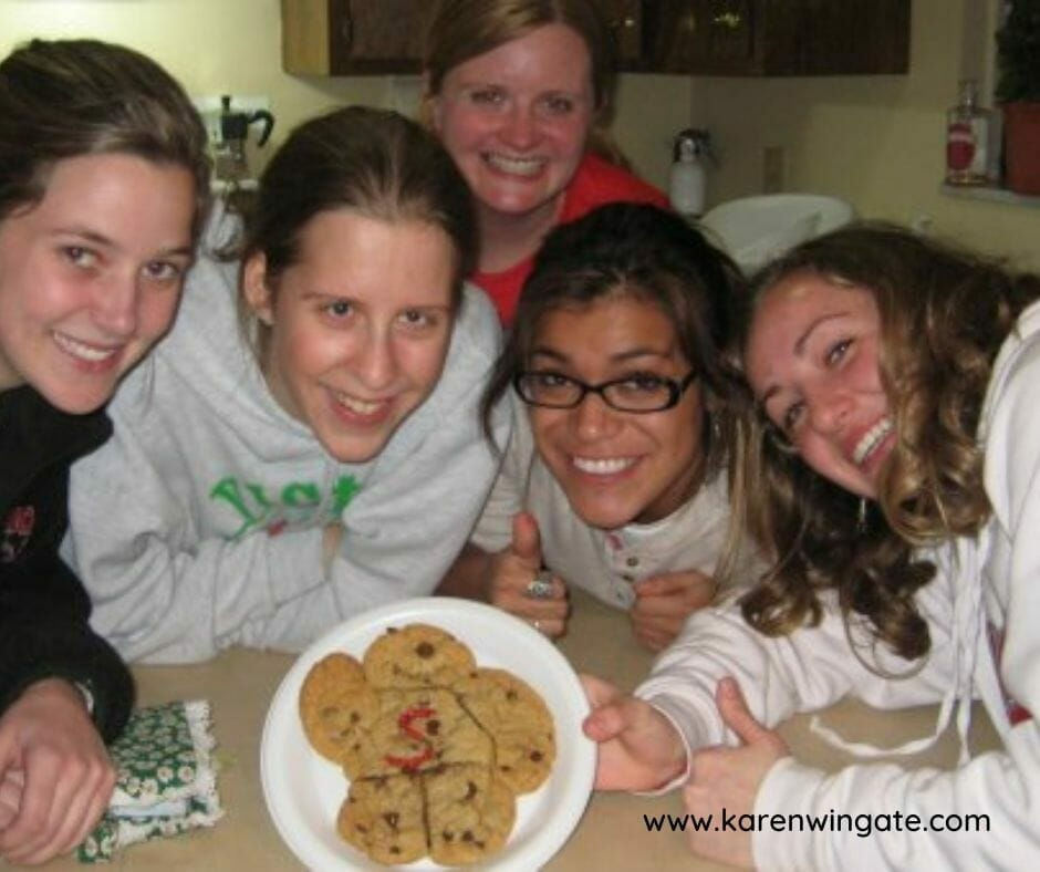 Campus Ministry women enjoying Jill's Famous Chocolate Chip Cookies.
